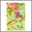 birds and flowers - tin badge card
