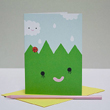 happy grass greeting card by Noodoll