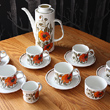j & g meakin poppy print coffee pot and 6 cups