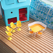 plastic toy chairs and table